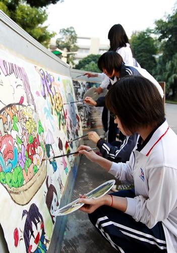 我校举行第二届校园现场涂鸦比赛